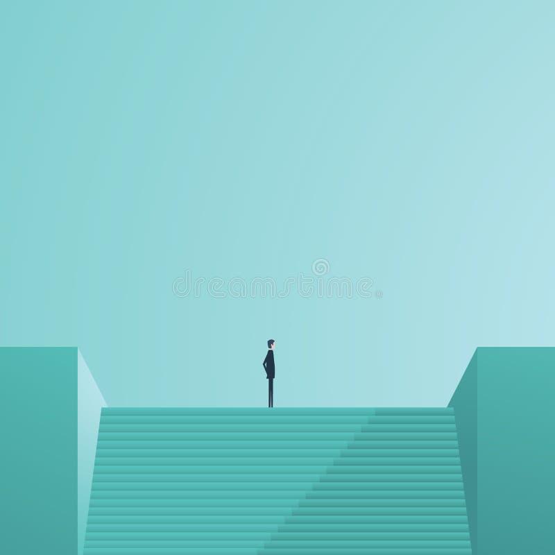 Geschäftsmann, der auf Treppe als Symbol der Geschäftsführung, des Karriereerfolgs, des Ehrgeizes und der Leistung steht stock abbildung