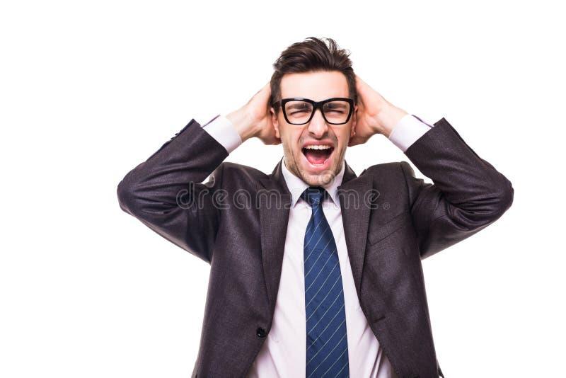 Geschäftsmann, der aufgeregt und verärgert erhält Studioschuß getrennt auf weißem Hintergrund stockfotos