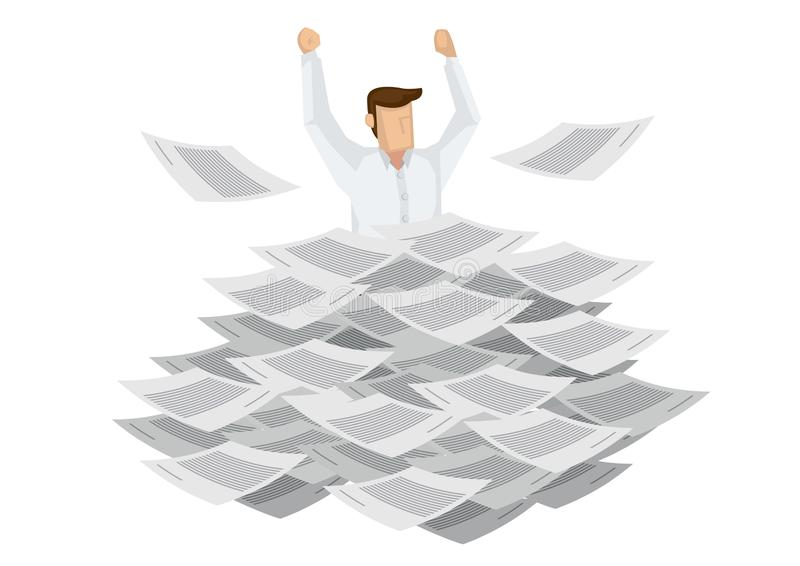 Geschäftsmann, der aus einen Stapel von Dokumenten herauskommt Konzept der Überlastung und des schlechten Managements im Planungs lizenzfreie abbildung
