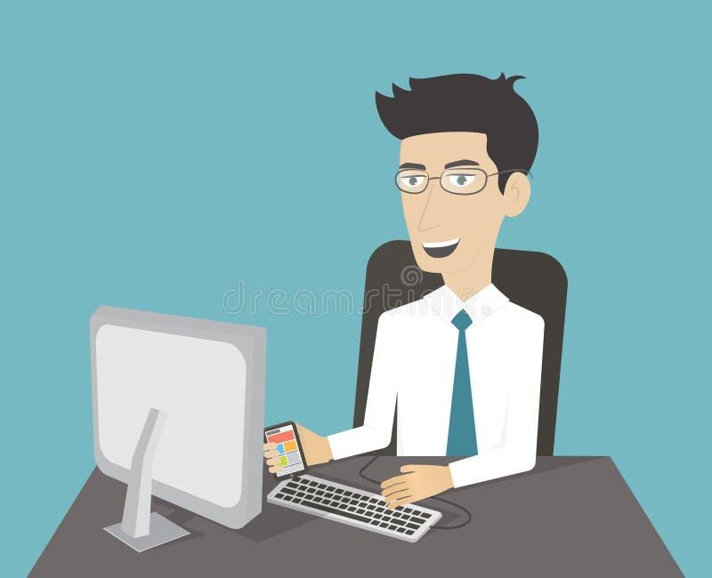 Geschäftsmann, der am Computer arbeitet lizenzfreie abbildung