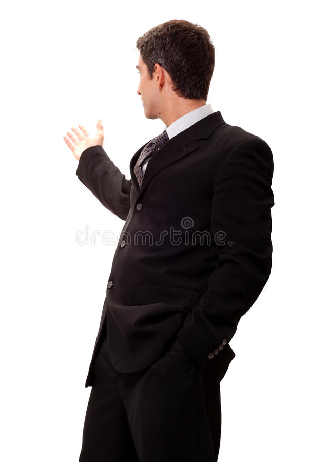 Geschäftsmann, der Darstellung tut lizenzfreie stockfotos