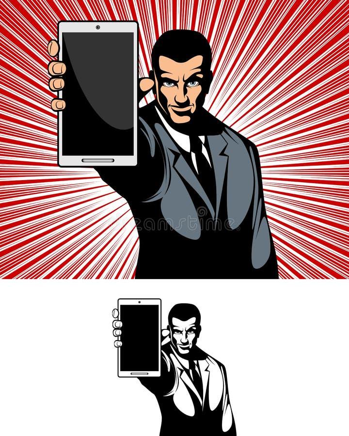Geschäftsmann, der das Gerät zeigt vektor abbildung