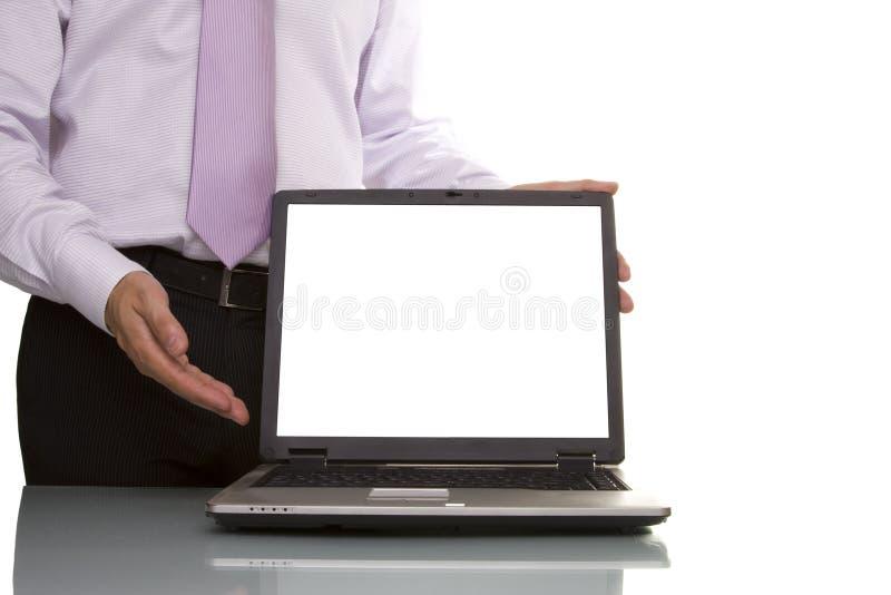 Geschäftsmann, der Daten zeigt lizenzfreie stockfotos