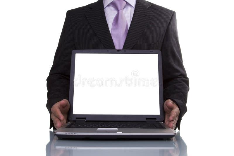 Geschäftsmann, der Daten zeigt lizenzfreies stockbild