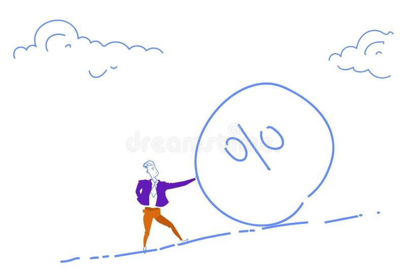 Geschäftsmann, der den Prozentsteinball unten rollt KreditFremdfinanzierungsmittel-Krisenrisikokonzeptproblem-Lösungsgekritzel hä vektor abbildung