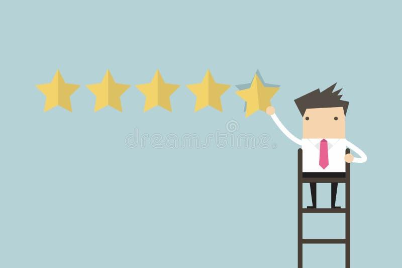 Geschäftsmann, der die Bewertung mit fünf Sternen gibt lizenzfreie abbildung