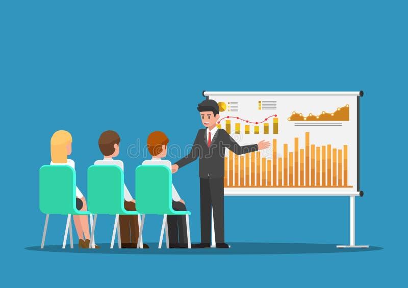 Geschäftsmann, der die Finanz- und vermarktenden Daten bezüglich des presentat vorlegt stock abbildung