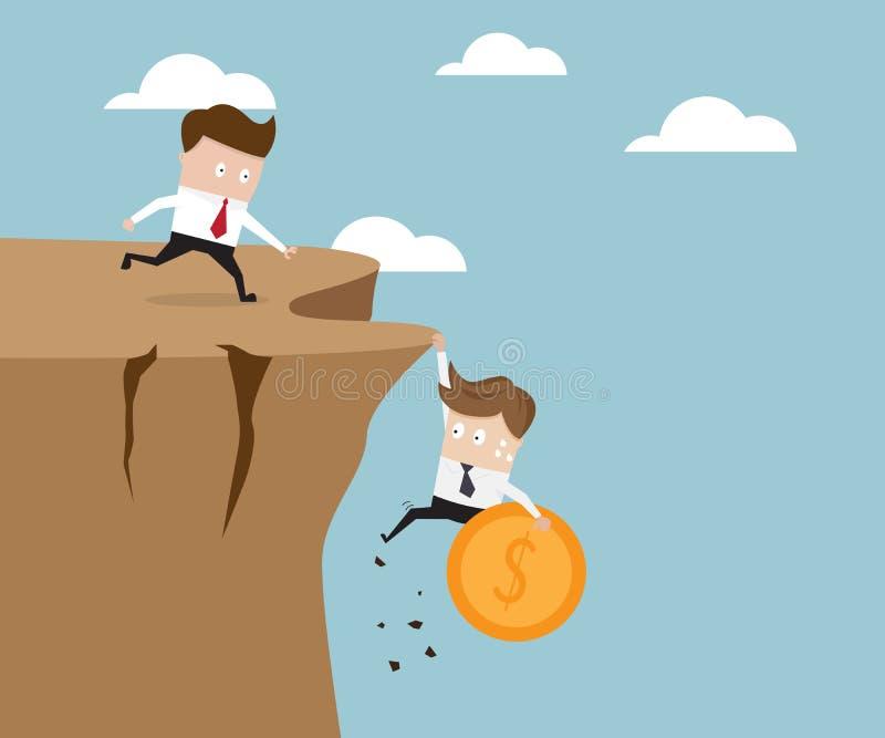 Geschäftsmann, der die Geldmünze hängt an der Klippe hält lizenzfreie abbildung