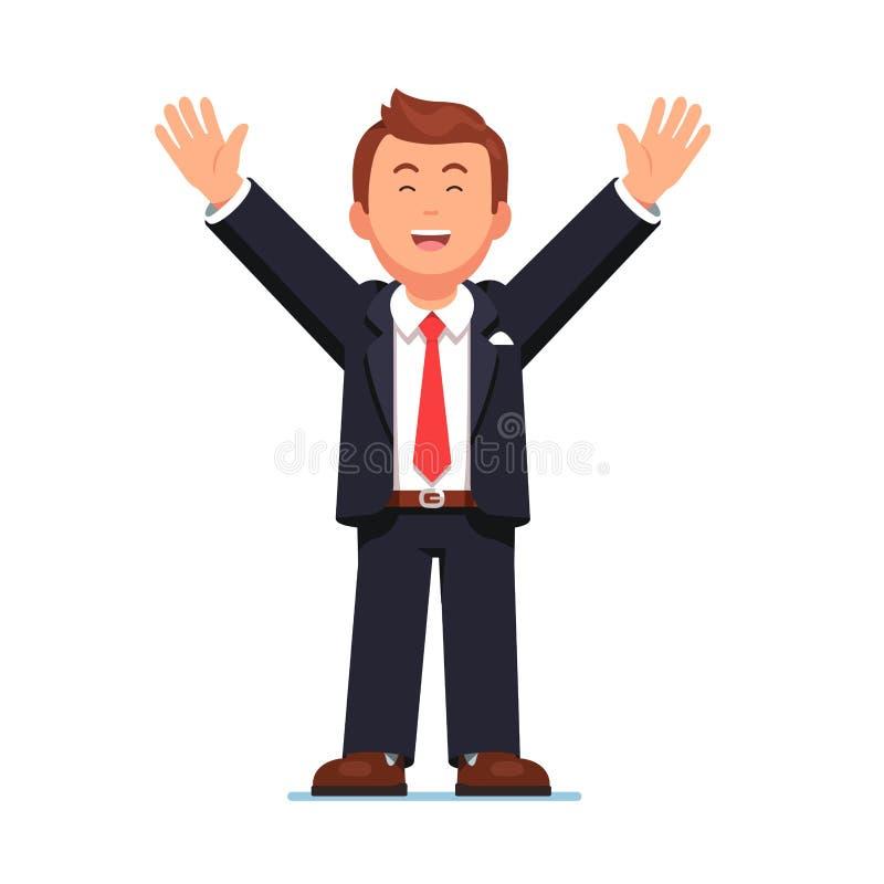 Geschäftsmann, der die Hände oben feiern Erfolg anhebt lizenzfreie abbildung