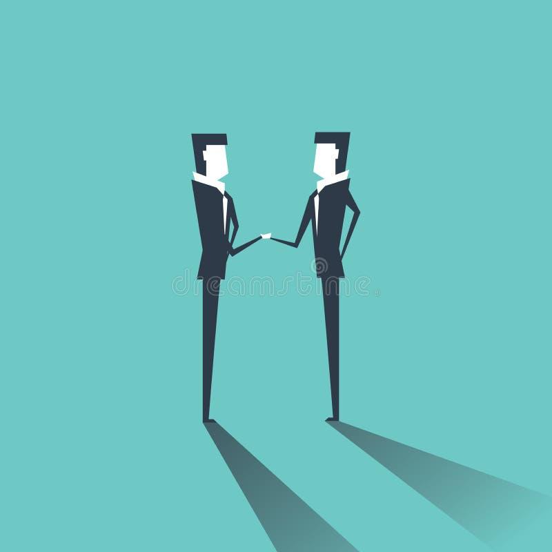 Geschäftsmann, der die Hände sich beglückwünschen mit erfolgreichem Abkommen rüttelt vektor abbildung