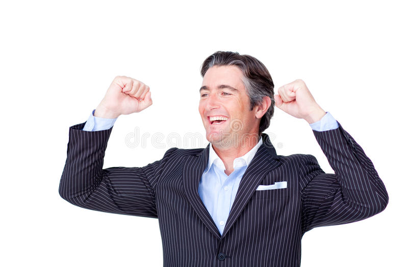 Geschäftsmann, der die Luft feiert einen Sieg locht stockbild