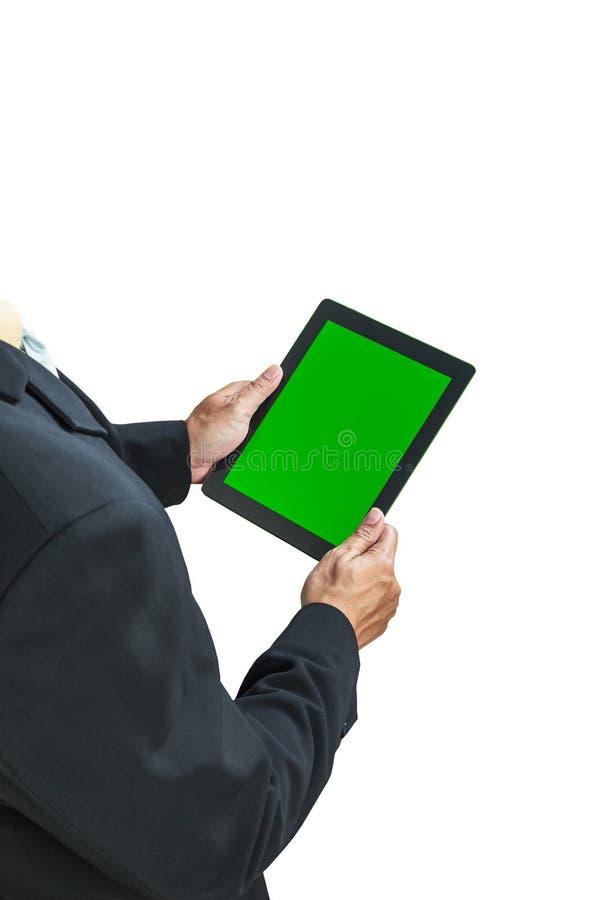 Geschäftsmann, der digitale Tablette hält lizenzfreie stockfotografie