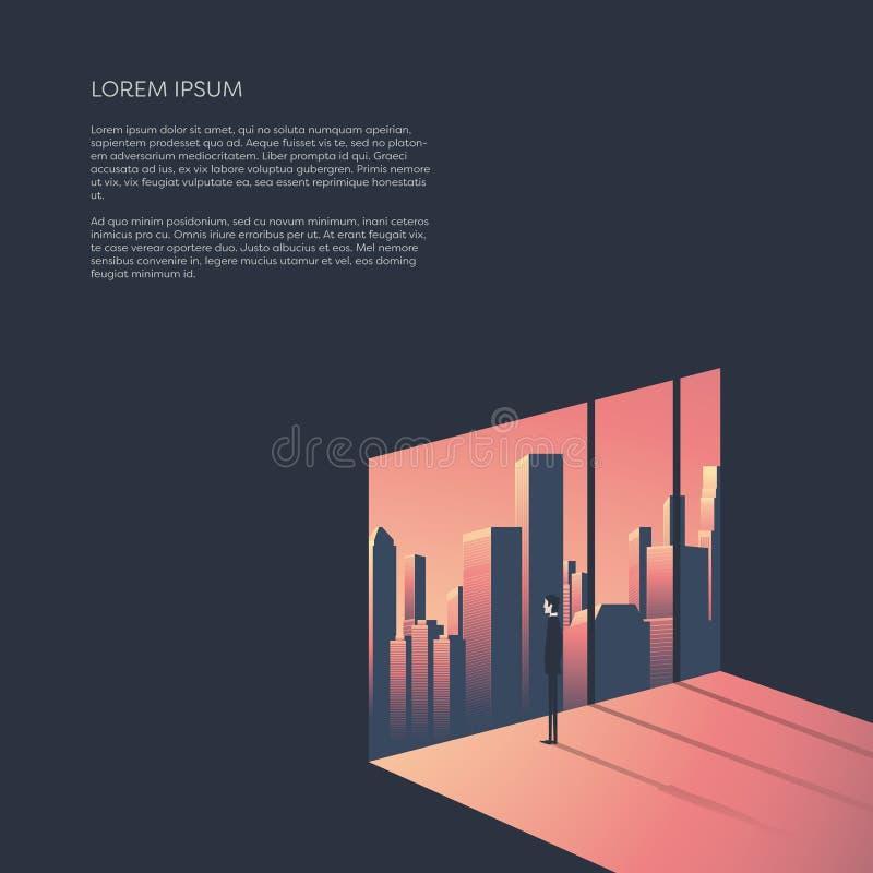 Geschäftsmann, der durch Fenster städtischen Skylinen betrachtet Geschäft und Unternehmensweltkonzept vector Illustration mit lizenzfreie abbildung