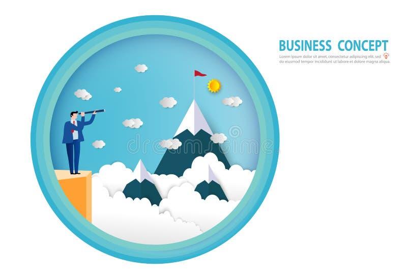 Geschäftsmann, der durch Teleskop auf den Berg schaut Ziele, Erfolg, Papierkunstart, Leutegeschäfts-Konzeptvektor flach stock abbildung