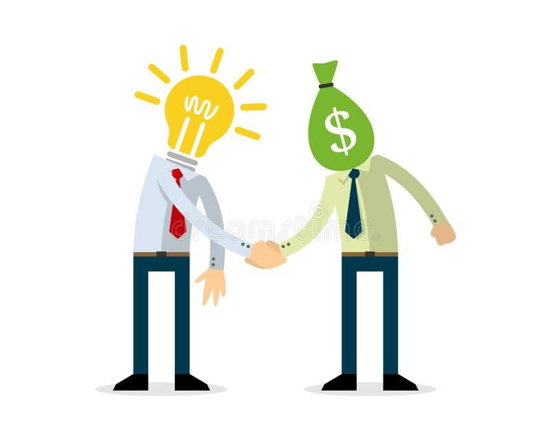 Geschäftsmann, der ein Abkommen, Geschäft macht stock abbildung