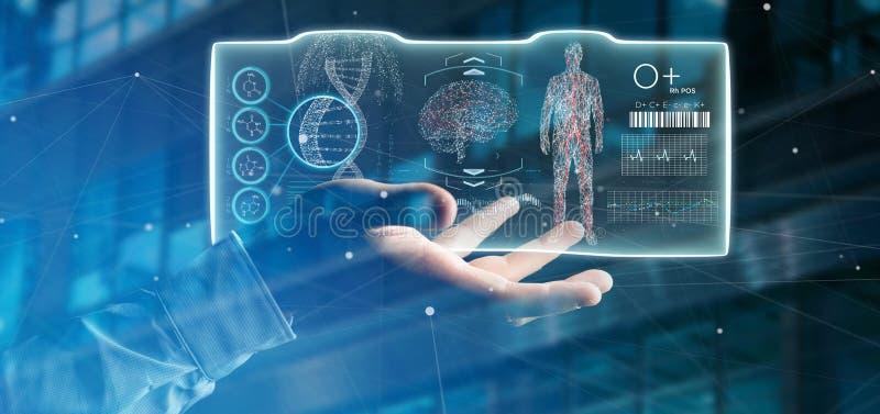 Geschäftsmann, der ein futuristisches Schablonenschnittstelle hud hält lizenzfreie stockbilder