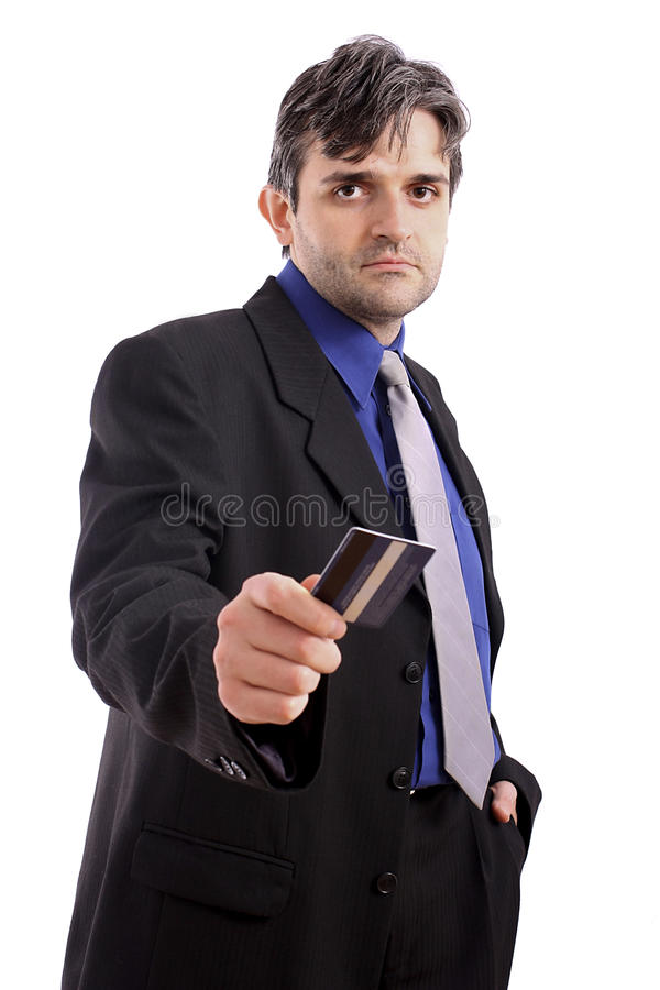 Geschäftsmann, der eine Kreditkarte übergibt stockbilder