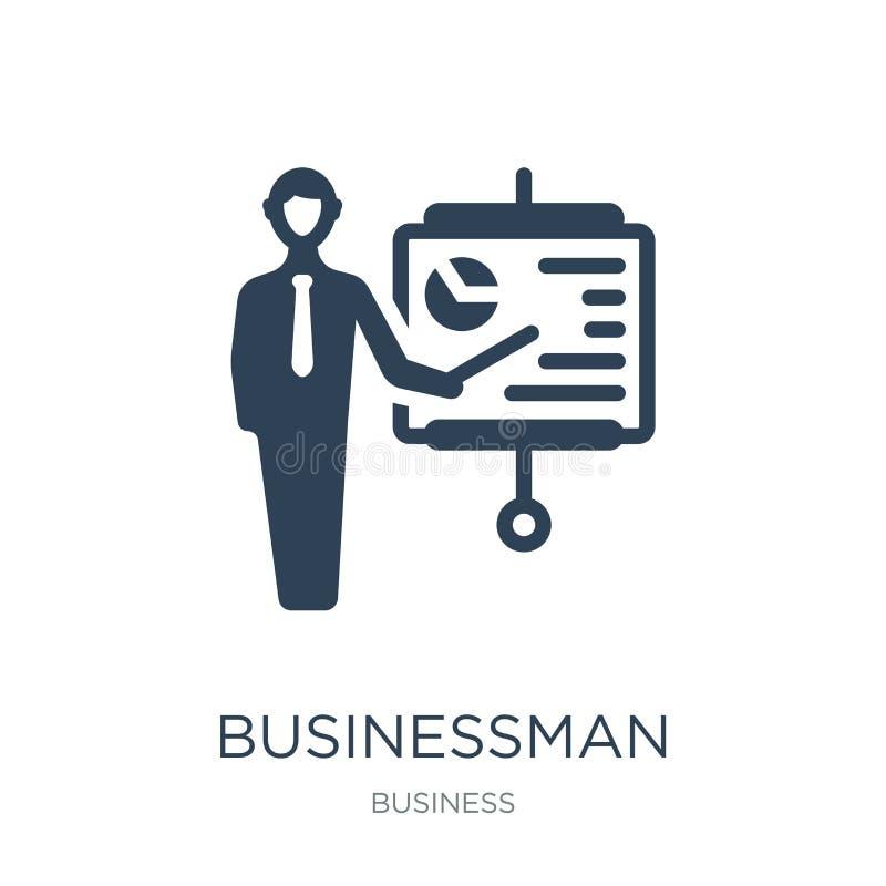 Geschäftsmann, der eine Projektskizzenikone in der modischen Entwurfsart zeigt Geschäftsmann, der eine Projektskizzenikone lokali stock abbildung