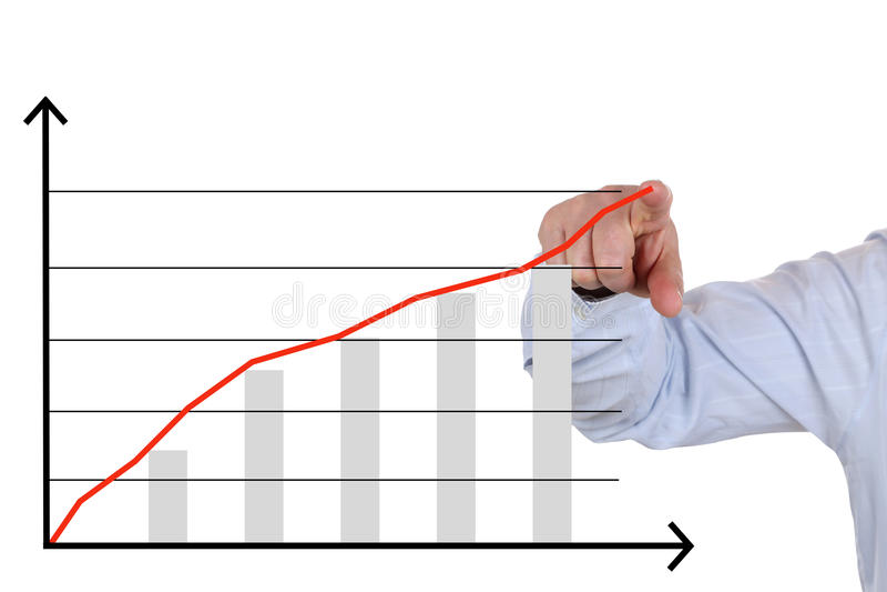 Geschäftsmann, der eine Unternehmensanalyse, Erfolgswachstumstabelle zeigt stockfoto