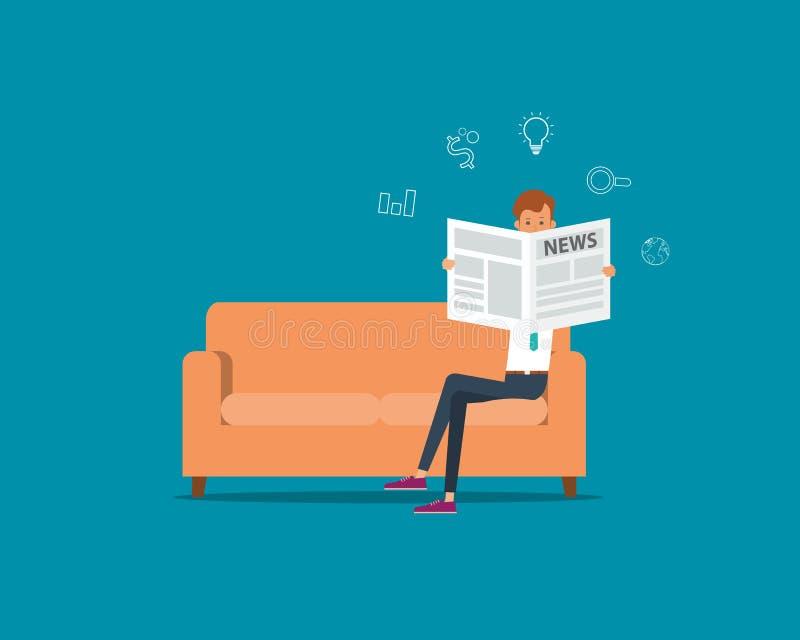 Geschäftsmann, der eine Zeitung auf dem Sofa im Raum und im Büro liest Abbildung Zeichentrickfilm-Figur lizenzfreie abbildung