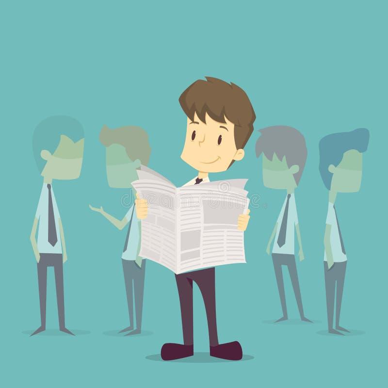Geschäftsmann, der eine Zeitung liest Vektorc$env-datei Karikatur des Geschäfts, Angestellter suc lizenzfreie abbildung
