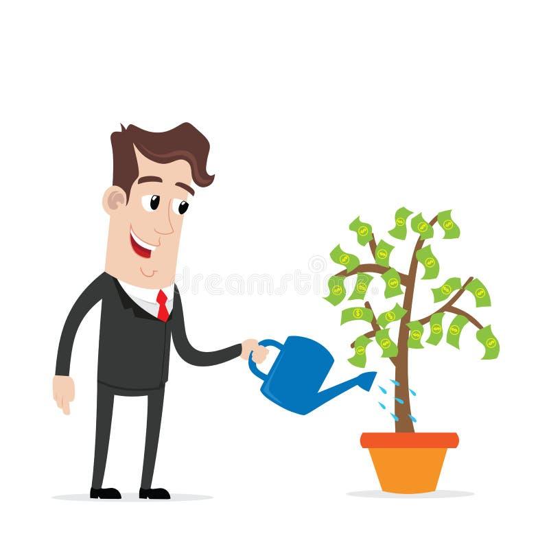 Geschäftsmann, der einen Geldbaum wässert vektor abbildung