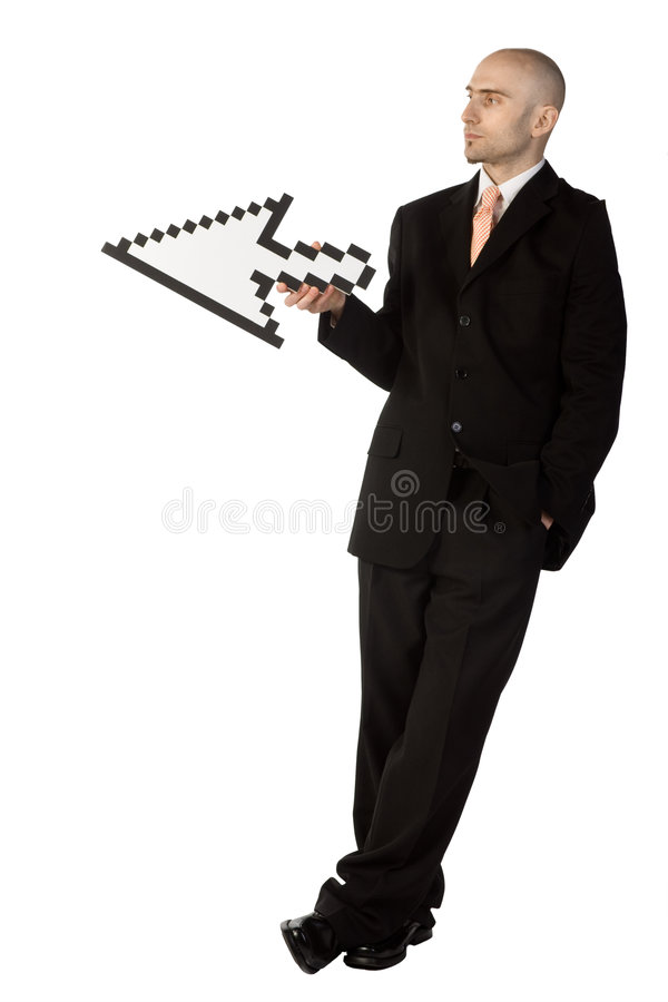 Geschäftsmann, der einen Pfeil anhält lizenzfreies stockfoto