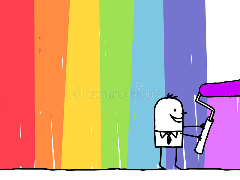 Geschäftsmann, der einen Regenbogenhintergrund malt vektor abbildung