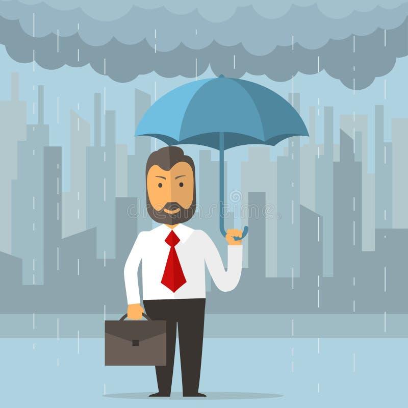 Geschäftsmann, der einen Regenschirm anhält vektor abbildung