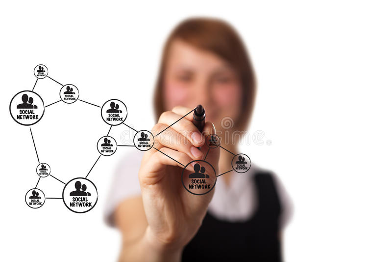 Geschäftsmann, der einen Sozialnetzentwurf zeichnet stockbild