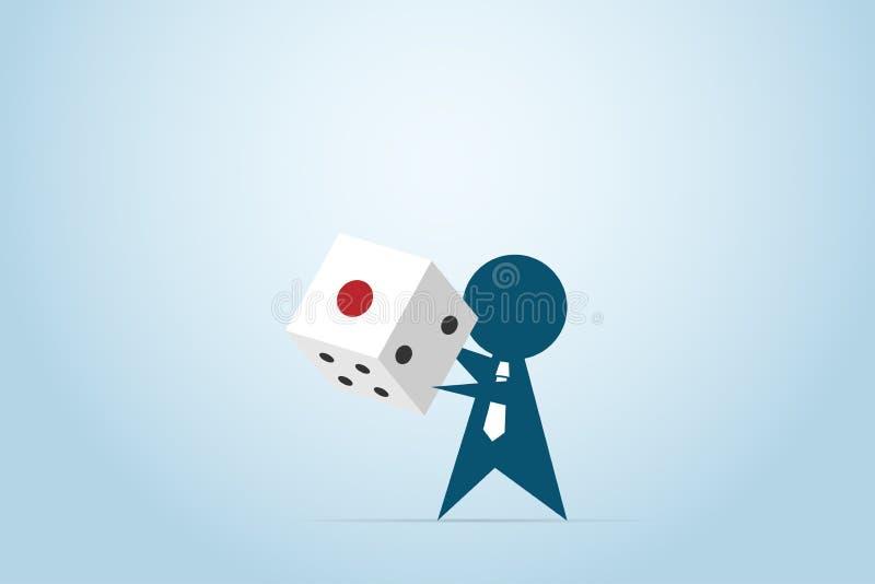 Geschäftsmann, der einen Würfel in seinem Hand-, Spielen und Geschäftskonzept hält lizenzfreie abbildung