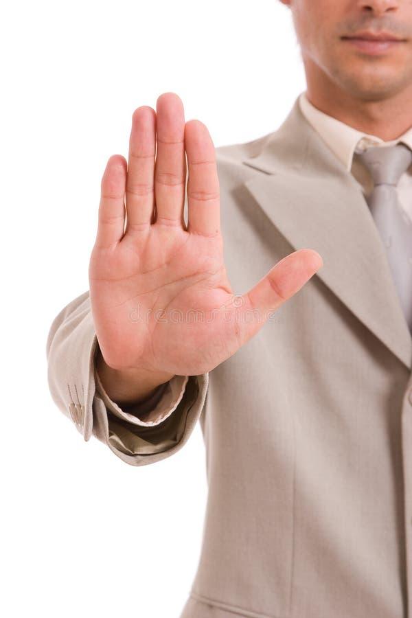 Geschäftsmann, der Endzeichen bildet stockbilder