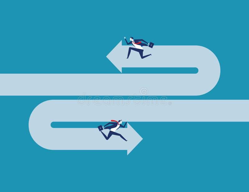 Geschäftsmann, der entgegengesetzte Richtung laufen lässt Konzeptgesch?fts-Vektorillustration stock abbildung
