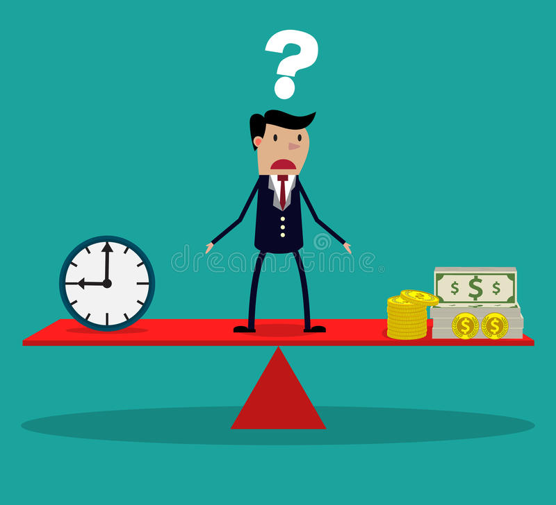 Geschäftsmann, der Entscheidung zwischen Zeit oder Geld trifft stock abbildung