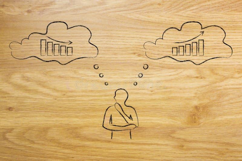 Geschäftsmann, der an Entscheidungen denkt, die zu Wachstum führen können oder stock abbildung