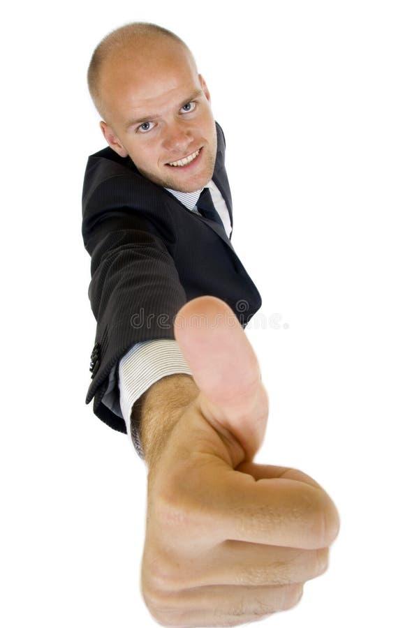 Geschäftsmann, der Erfolg mit dem Daumen oben zeigt stockfotos