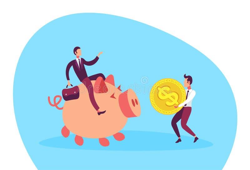 Geschäftsmann, der flach auf Dollarmünzenwachstumsreichtumsteamwork-Konzeptzeichentrickfilm-figur des piggy Kastens der tragenden vektor abbildung