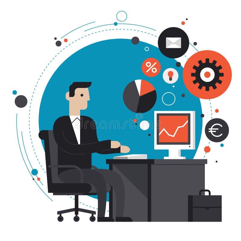 Geschäftsmann in der flachen Illustration des Büros