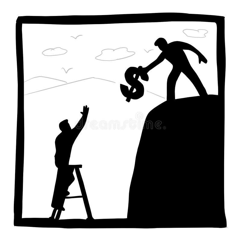 Gesch?ftsmann, der Geld verwendet, um seinem Freund herauf Gebirgsvektorillustration mit den schwarzen Linien zu helfen lokalisie vektor abbildung