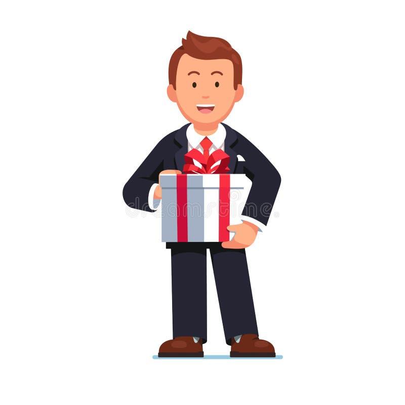 Geschäftsmann, der Geschenkbox mit rotem Bandbogen hält lizenzfreie abbildung