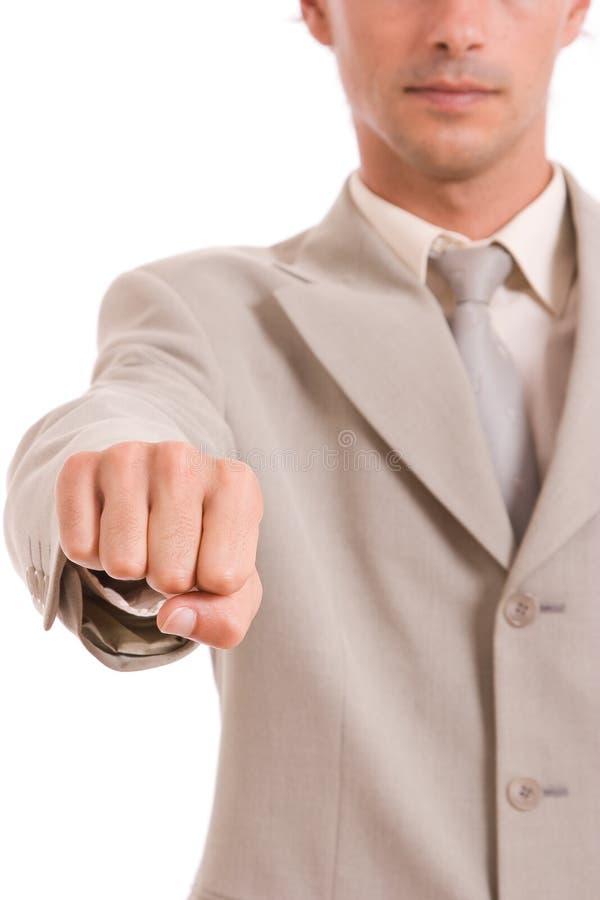 Geschäftsmann, der geschlossene Hand zeigt lizenzfreie stockfotografie