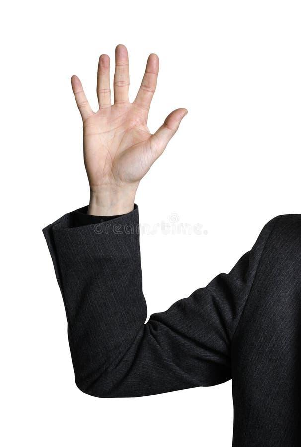 Geschäftsmann, der Hand anhebt stockbilder