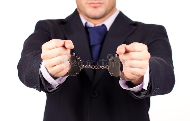 Geschäftsmann in der Hand gebunden herauf Manschetten stockfoto