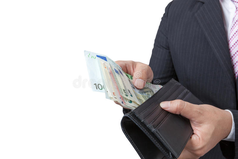 Geschäftsmann, der heraus Geldbörse der Banknoten hält lizenzfreies stockbild