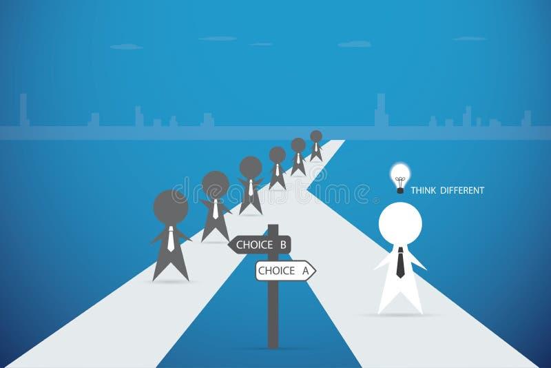 Geschäftsmann, der heraus von der Menge mit Glühlampe der Idee, Entscheidung und Geschäftskonzept geht stock abbildung