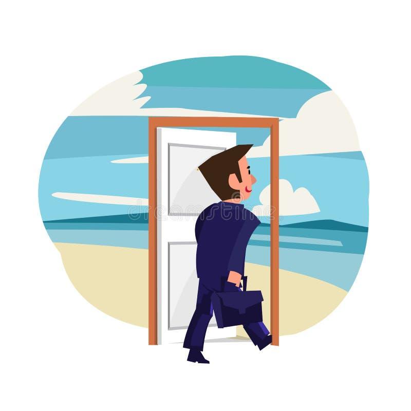 Geschäftsmann, der herein zur magischen Tür zum Strand geht Feiertags- oder Tagkonzept - Vektor stock abbildung