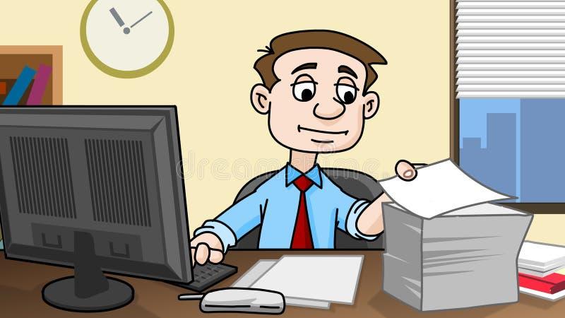 Geschäftsmann, der im Büro arbeitet lizenzfreie abbildung