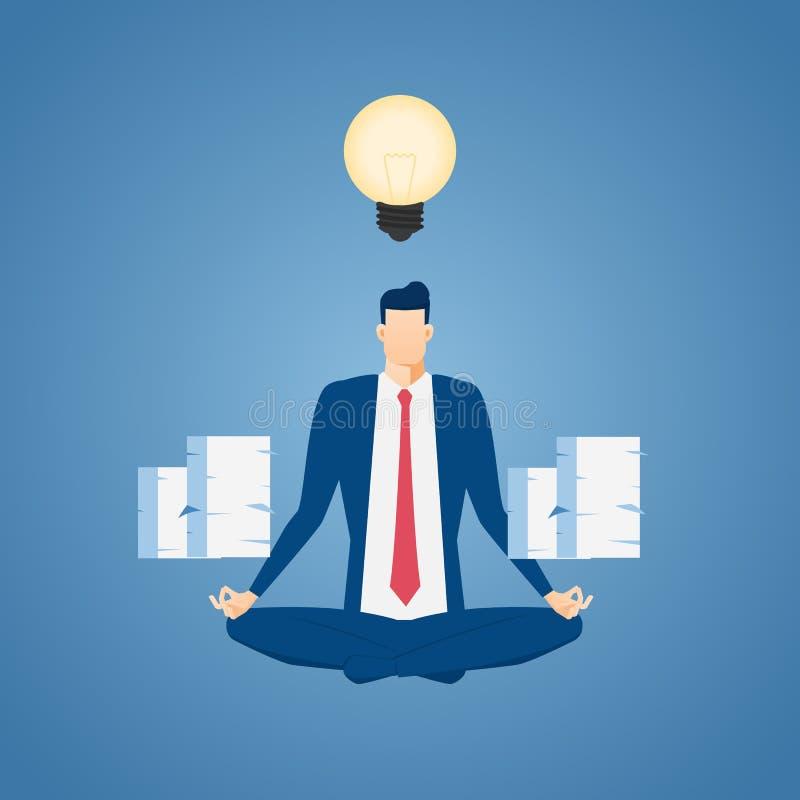 Geschäftsmann, der im Frieden im Büro meditiert Zeitmanagement, Entspannung und Lösen- von Problemenkonzepte stock abbildung