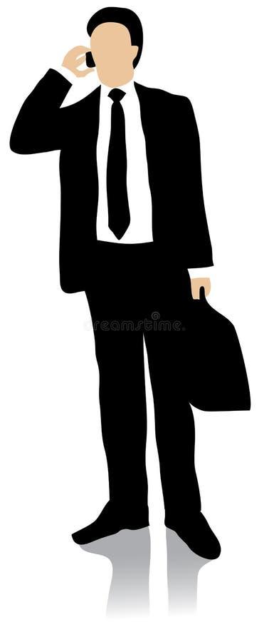 Geschäftsmann, der im Handy spricht stock abbildung