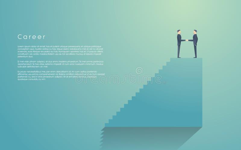 Geschäftsmann, der Jobförderung in der Karriere von seinem Chef empfängt Unternehmensleitervektorsymbol mit dem Handeln mit zwei  lizenzfreie abbildung
